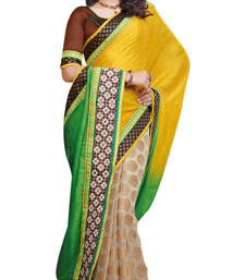 Multi Embroidered Crape,Jacquard,Viscose Saree With Blouse shop online