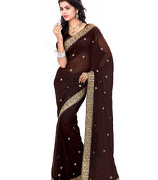 Buy Coffee Color Faux Georgette Saree With Blouse party-wear-saree online