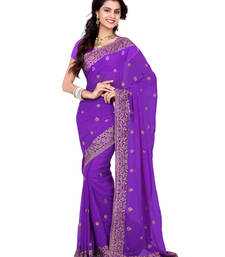 Buy Lavender Color Faux Georgette Saree With Blouse party-wear-saree online