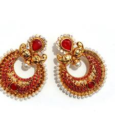 Buy Red Half-moon Stone & Pearl Earrings stud online