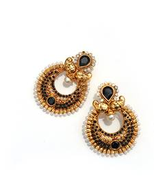 Buy Black Half-moon Stone & Pearl Earrings stud online