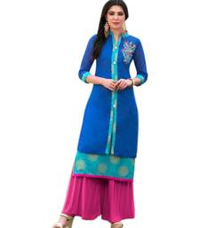 Buy Blue embroidered chanderi long-kurtis long-kurti online