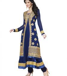 Blue Color Casual Embroidered Pure Georgette Semi-Stitched Anarkali