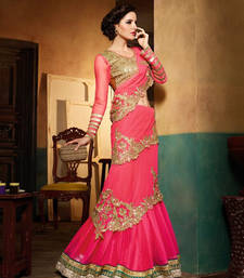 Buy Pink color heavy embroidred designer saree comes wedding-saree online