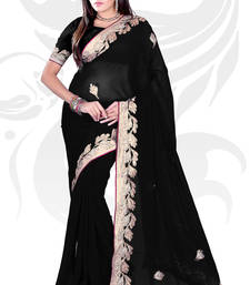 Buy Black Chiffon Embroidered Saree With Blouse party-wear-saree online
