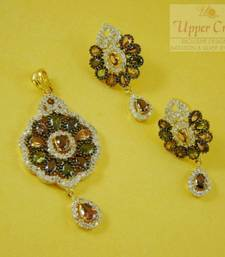 Buy Multi Gemstone Zircone Pendent Earring Jewellery Set Pendant online