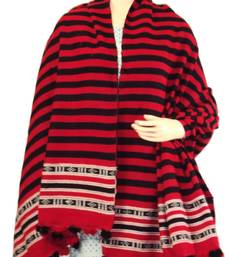 Hand-Woven Shawl from Manipur-Red and Black stripes with white thread weaving shop online