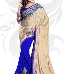 Buy Beige and Blue Jacquard and Chiffon Embroidered Saree With Blouse party-wear-saree online