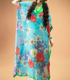 Buy Dark Aqua Georgette Kaftan with Interesting Floral Print kaftan online