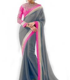 Buy Grey with Embroidery Zari work Heavy Blouse Partywear Saree chiffon-saree online