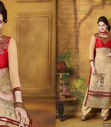 Buy Red and Cream colour embrodiary work art silk semistich churidar salwar suit party-wear-salwar-kameez online