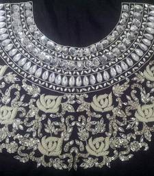 Buy Heavy handwork un-stitched maharani neck black & white dupion raw silk material blouse with pearl work blouse-fabric online