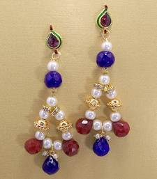 Buy Pearl String Jhumars Maroon Blues danglers-drop online