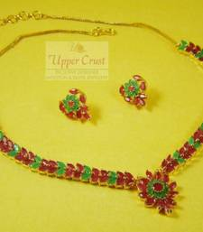 Buy AD Ruby Panna Navratna Navrattan Necklace Jewellery Necklace online