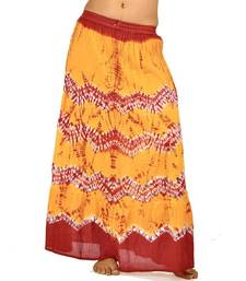 Buy Ethnic Yellow n Red Bandhej Cotton Long Skirt skirt online