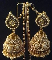 Buy Bridal Heavy Ethnic Big Pearl Kundan Jhumka India Earrings jhumka online