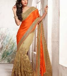 Buy Net With Satin Pallu Saree With Blouse party-wear-saree online