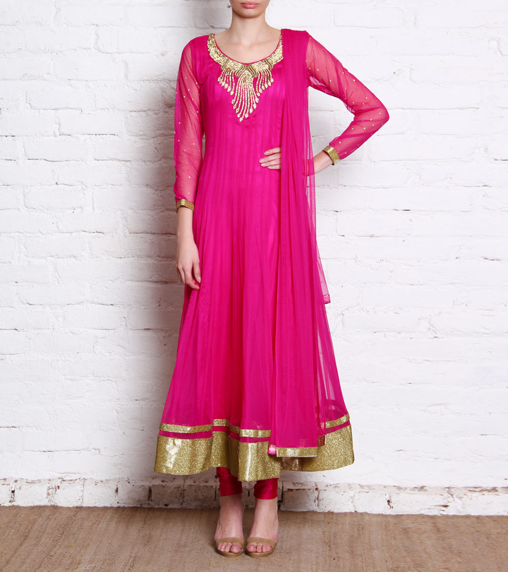 Buy Pink Colour Embroided Net Stiched Anarkali Churidar