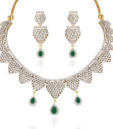 Buy Heena Contemporary collection Green stone Necklace set >> HJNL139G << party-jewellery online
