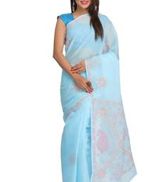 Buy Blue embroidered cotton saree with blouse chikankari-sari online