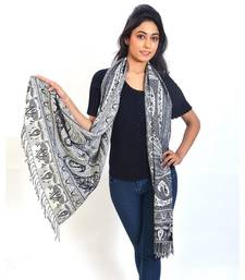 Buy Pure Kashmiri Floral n Paisley Print Silk Stole stole-and-dupatta online