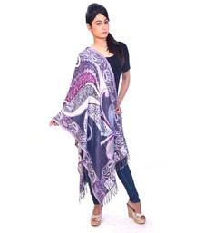 Buy Ethnic Paisley Print Reversible Purple Silk Stole stole-and-dupatta online