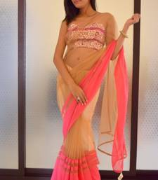 Buy Brown and Pink Net net-saree online