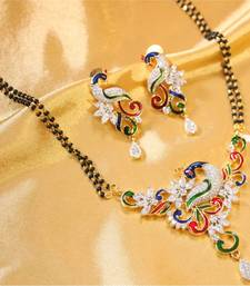 Beautiful peacock AD mangalsutra shop online