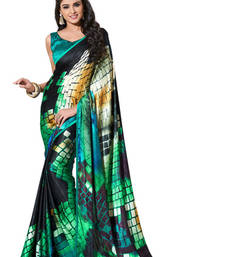 Buy Digital crepe jacquard Green With Black Designer Sarees crepe-saree online