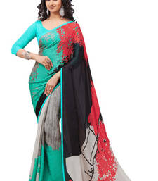 Buy Digital Printed Satin Georgette Designer Sarees Sea Green With Grey crepe-saree online