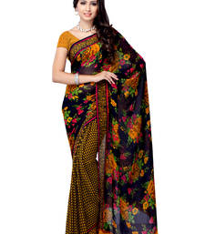 Buy Black & Yellow Colored Georgette Printed Saree With Blouse georgette-saree online