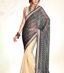 Buy Grey Beige Embroidered Jacquard Party Wear Saree With Blouse Piece jacquard-saree online