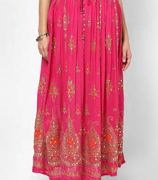 Buy Pink Embroidered Cotton Long Skirt skirt online