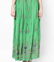 Buy Parrot Green Embroidered Cotton Long Skirt navratri-skirt online