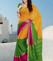 Buy Multi colour crepe silk weaved saree in bright green weaved pallu crepe-saree online