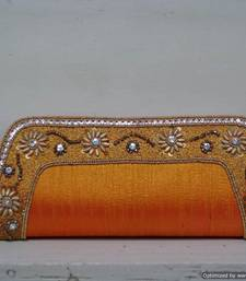 Buy Mango Yellow Elegant Embroidered Border Clutch clutch online