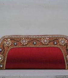 Buy Red Elegant Embroidered Border Clutch clutch online