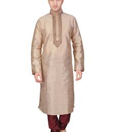 Buy Machine embroidered corded kurta with antique embroidery with a contrast maroon touch kurta-pajama online