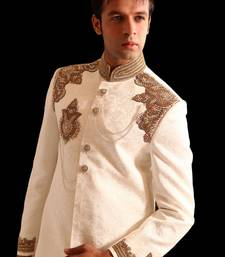 Buy white rich heavy silk embroidered sherwani kurta-pajama online
