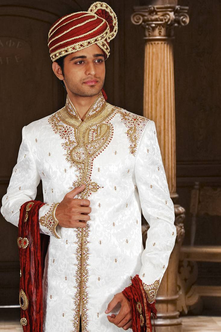 Buy White Kinkhab Fabric Embroidered Sherwani Online