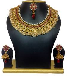 Buy High Gold Polish Chocker Set with Tiny Pearls in Maroon Green necklace-set online