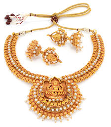 Buy ANTIQUE GOLDEN STONE STUDDED TRADITIONAL TEMPLE THEME NECKLACE SET necklace-set online