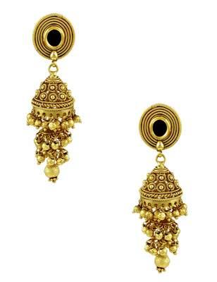 Buy three step black jadau kundan jhumki earrings online