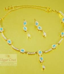 Buy Turquoise American Diamond Necklace Jewellery necklace-set online