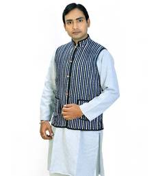 Buy Designer Vertical Stripes Reversible Cotton Jacket nehru-jacket online