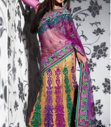 Buy Magenta and Fawn Net Lehenga Style Saree With Blouse lehanga-saree online, Buy lehanga-sarees online