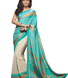 Buy Sea Green Printed crepe Saree With Blouse crepe-saree online