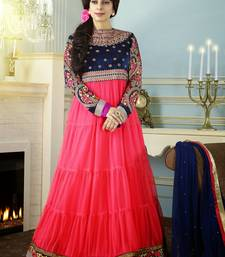 Buy Pink  Blue embroidered georgette semi-stitched salwar with dupatta indian-dress online