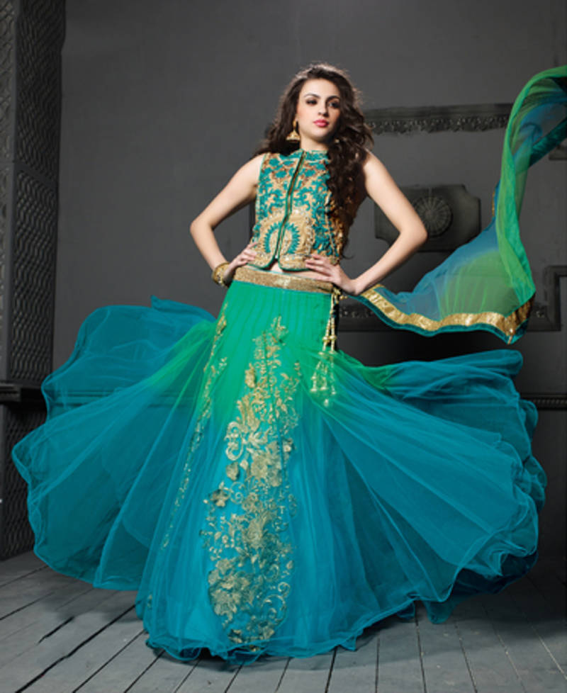 Buy Green And Sky Blue Color Net With Embroidered