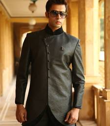 Buy Black brockade indowestern suit indo-western-dress online